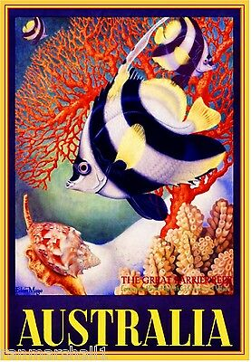 The Great Barrier Reef Fish Australia Vintage Travel Advertisement Art Poster