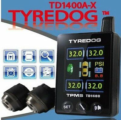 Tyredog TPMS Color LCD Tyre/Tire Pressure Monitoring System 4 SENSORS TD1400A-X