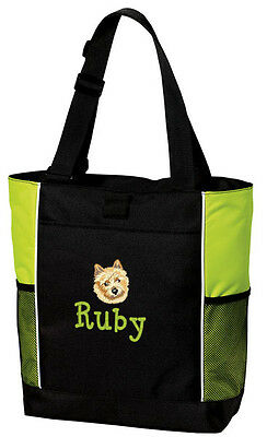 Norwich Terrier Embroidered Panel Tote
