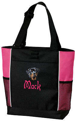 Rottweiler Embroidered Panel Tote