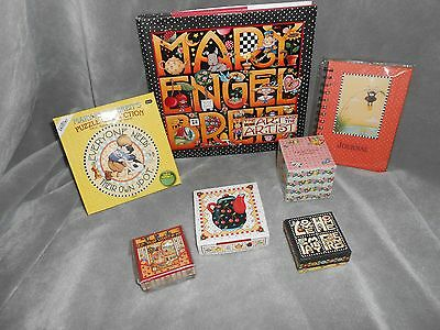 Mary Engelbreit Book, Puzzle,tissue Box,coaster Set, Journal And Trinket Box Lot