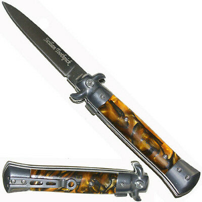 Stiletto Spring Assisted Opening Pocket Knife TIGER Handle