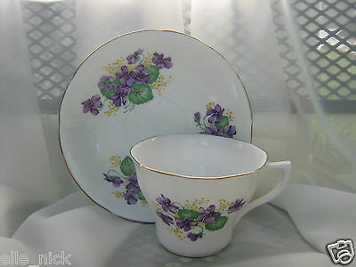 Vintage Violet Fine Bone China Teacup And Saucer by Taylor and Kent England