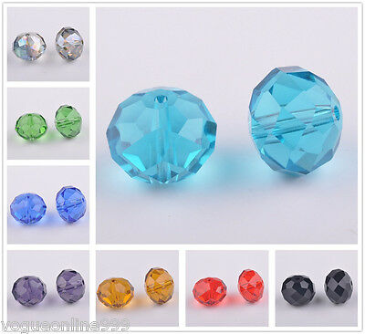 10pcs 12x16mm Rondelle Faceted Crystal Glass Loose Spacer Beads Charms Findings