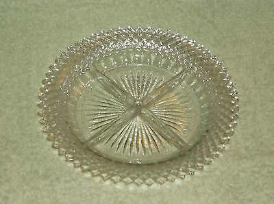Hocking Glass Miss America Clear Divided Four Part Relish Dish Bowl