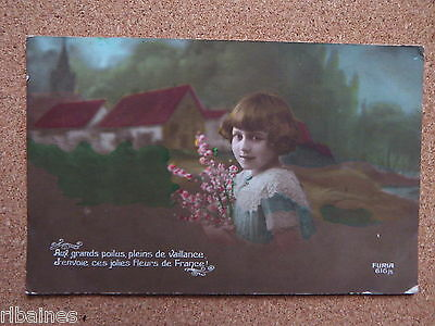 R&L Postcard: Colour Tinted Portrait of Girl with Flowers, French Circa WW1