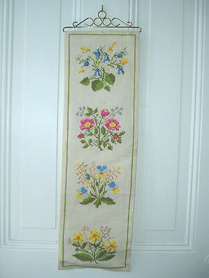 ANTIQUE BUTLER SERVANT CALL PULL PINK BLUE YELLOW FLOWERS CROSS STITCH TAPESTRY