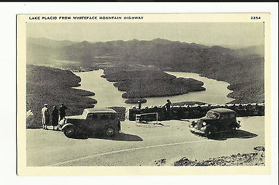 Vintage Postcard Lake Placid Whiteface Mountain Highway New York Old Cars People