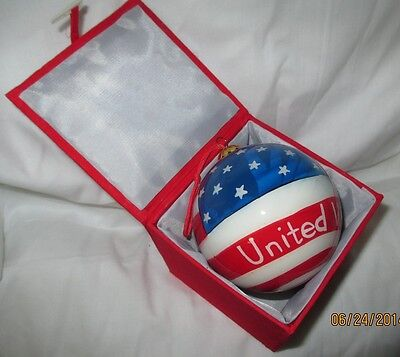 """July 4 th. Red, White & Blue Ornament, 3"""" Glass Ball, in Box"""