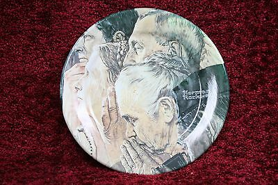 """Norman Rockwell - Freedom of Worship - Metal/Tin Collector Plate 10 1/4"""""""