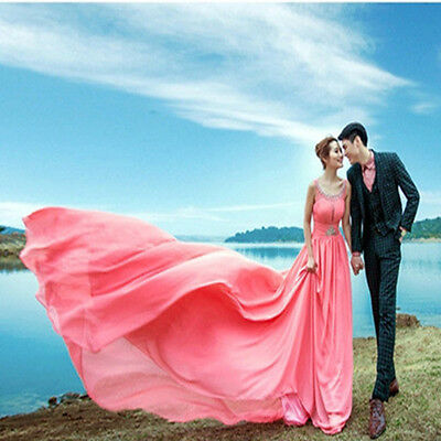 New Chiffon Long Train Evening Dress Quinceanera Prom Party Cocktail Ball Gown