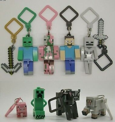 Lot 10 Minecraft Hanger Creeper Figure Backpack Keychain Clip 3D Toys A40