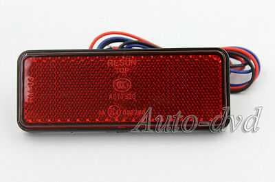 24 SMD Motorcycle Rear Reflector Red Rectangular Safety Mini Motor LED Reflector
