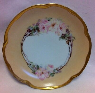 """Antique J & C Louise Bavaria 9"""" China Plate Pale Gold Floral With Gold Trim"""