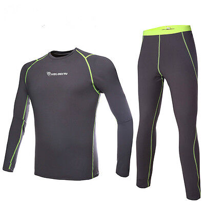 Mens Thermal Compression BaseLayer Winter Under Wear Long Sleeve Shirts+Pants F4