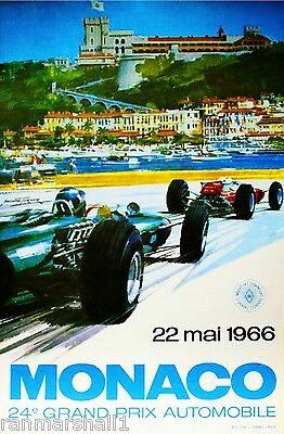 1966 Monaco 24th Grand Prix Automobile Race Car Advertisement Vintage Poster