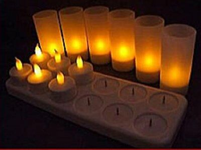 LED Rechargeable Flameless Tea Light Candles with Difused Votives. Set of 12, By