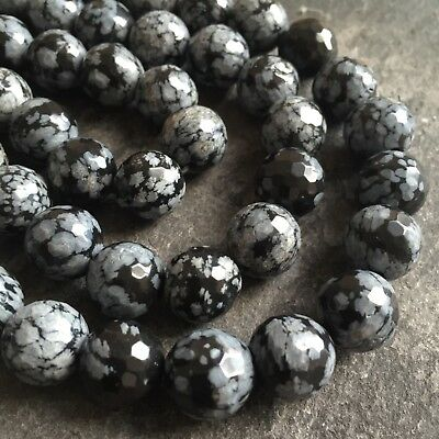 """Snowflake Obsidian round faceted 12mm beads, 15.7"""" strand (~ 33 pcs) SP8"""