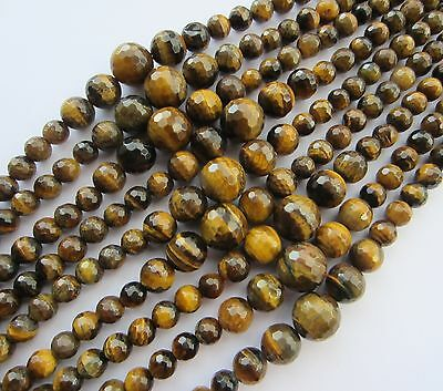 """Tiger Eye graduated faceted round beads 6-14mm, 17"""" strand (~63 pcs) SP11"""
