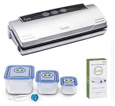 Luvele Vacuum Sealer with 3 Piece Glass Vacuum Canister set 12M Bag Rolls Luvelo