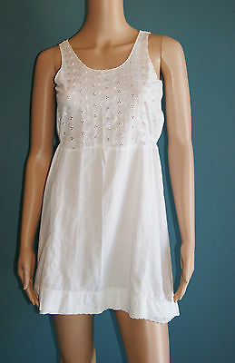 Vintage 50's 60's White Eyelet Lace Slip by Ginger Lane Girls Size 14 Ladies XS