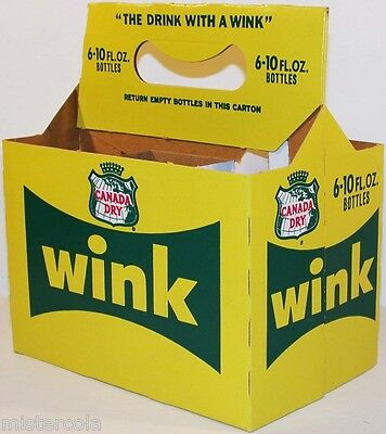 Vintage soda pop bottle carton CANADA DRY WINK unused new old stock n-mint cond