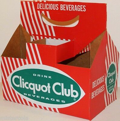 Vintage soda pop bottle carton CLICQUOT CLUB BEVERAGES new old stock n-mint cond