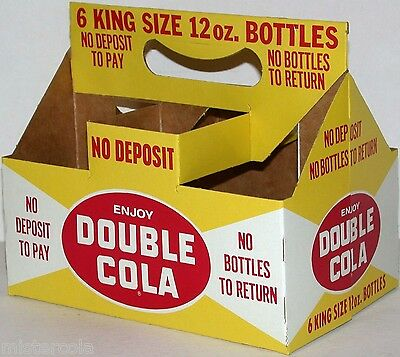 Vintage soda pop bottle carton DOUBLE COLA King Size 12oz new old stock n-mint