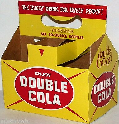 Vintage soda pop bottle carton DOUBLE COLA The Lively Drink slogan new old stock