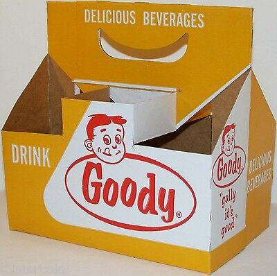 Vintage soda pop bottle carton GOODY picturing the boys face new old stock nrmt