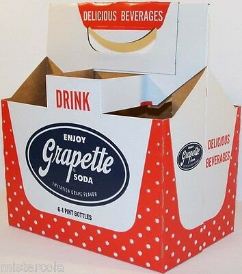 Vintage soda pop bottle carton GRAPETTE with polka dots unused new old stock