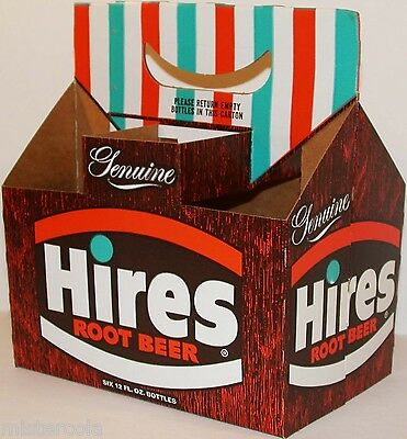 Vintage soda pop bottle carton HIRES ROOT BEER Genuine new old stock n-mint+