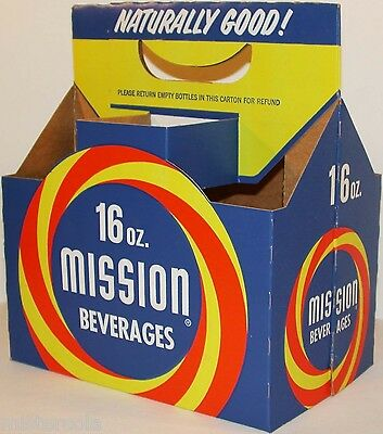 Vintage soda pop bottle carton MISSION BEVERAGES unused new old stock n-mint