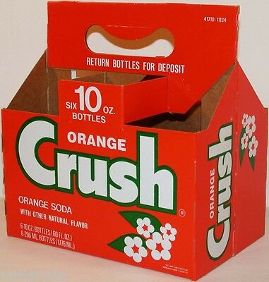 Vintage soda pop bottle carton ORANGE CRUSH with flowers unused new old stock