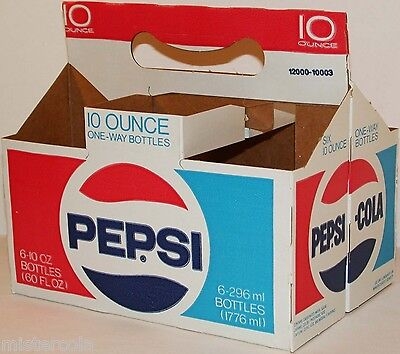 Vintage soda pop bottle carton PEPSI COLA One Way Bottles new old stock n-mint