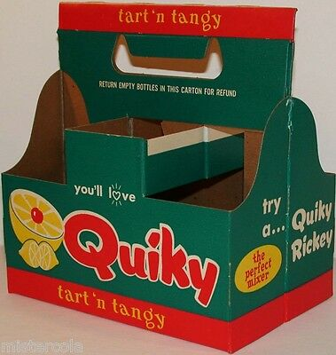 Vintage soda pop bottle carton QUIKY Tart n Tangy unused new old stock n-mint