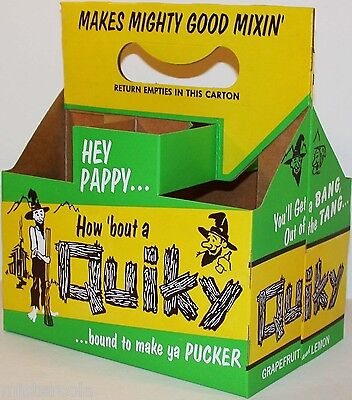 Vintage soda pop bottle carton QUIKY with hillbilly picture new old stock n-mint