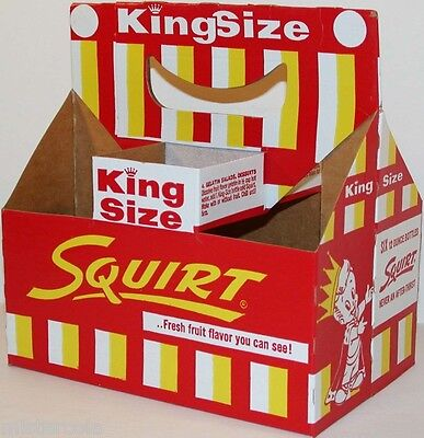 Vintage soda pop bottle carton SQUIRT 1958 King Size boy pictured new old stock