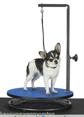"PORTABLE PRO ROUND""LAZY SUSAN""Rotating Dog Cat GROOMING TABLE ARM,CLAMP&LOOP*Blu"
