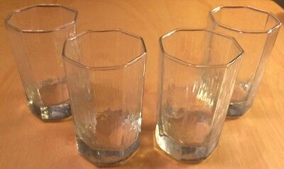 """Vintage Set Of 4 Octagon Clear Glass Marked Libbey Facets Tumblers 3-7/8"""""""