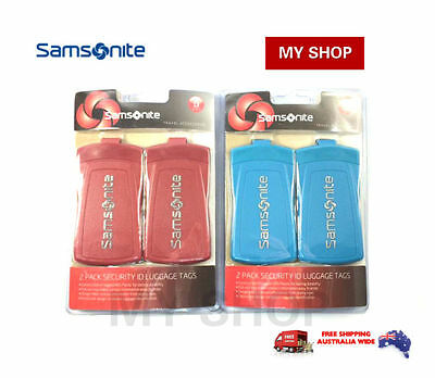 Samsonite Security Luggage Suitcase Bag Labels Name Id Tag Twin Pack Red & Blue