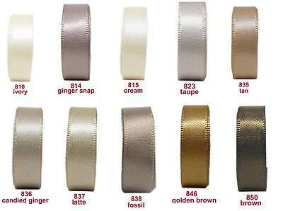 "25y 50y 100y 25mm 1"" Ivory Cream Brown  Premium Double Faced Satin Ribbon Eco"