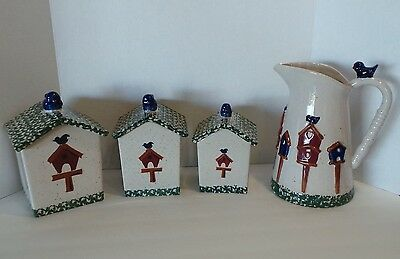 GIBSON CERAMIC CANISTER SET OF THREE BIRD HOUSE & PITCHER