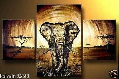 MODERN ABSTRACT HUGE WALL ART OIL PAINTING ON CANVAS-Elephant No Framed