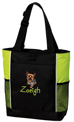 Yorkshire Terrier Yorkie Embroidered Panel Tote