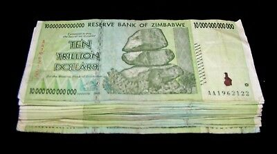25 x Zimbabwe 10 Trillion Dollar banknotes- paper money currency 1/4 bundle