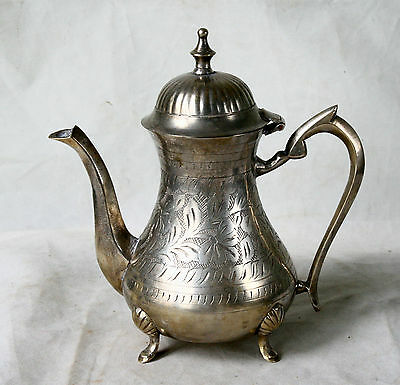 VINTAGE Middle East Solid BRONZE Silver Plated Engraved TEA Coffee Kattle POT