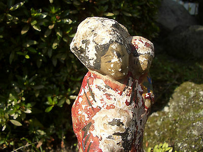 Japanese antique clay doll a woman with child old feeling good #9231
