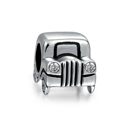Bling Jewelry Sterling Silver Jeep Car Bead CZ Headlights Charm
