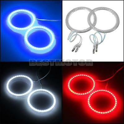 2x 76mm 39 LED SMD CCFL Head Light Angel Eye Halo Ring Aperture Lamp 3Color